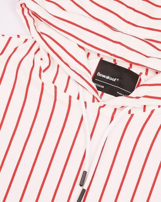 Shop Red Stripe AOP Vest With Hoodie