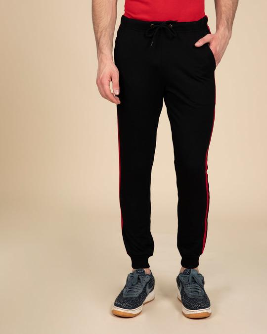 Shop Red Stripe Fleece Sports Trim Joggers-Back