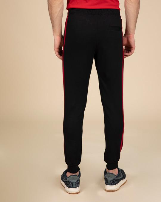 Shop Red Stripe Fleece Sports Trim Joggers-Full