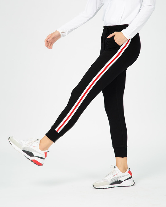 Shop Red Stripes Fleece Sports Trim Joggers-Design
