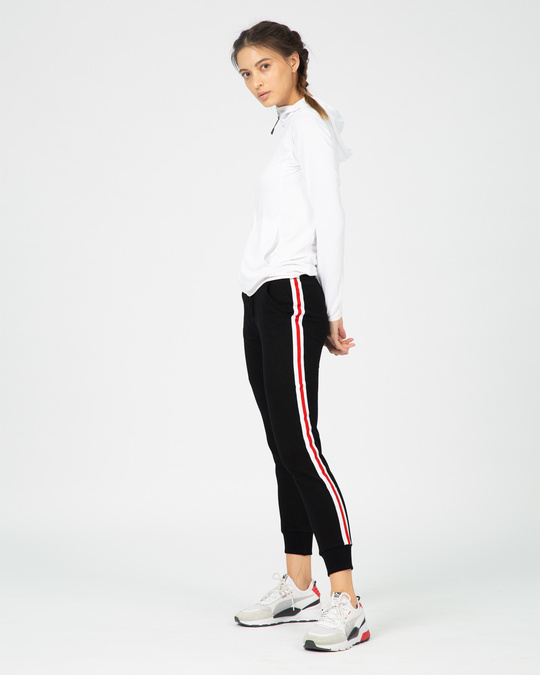 Shop Red Stripes Fleece Sports Trim Joggers
