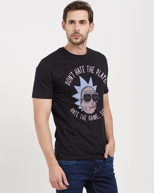 Shop Don't Hate The Player Official Rick And Morty Cotton Half Sleeve T Shirt-Design