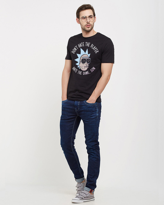 Shop Don't Hate The Player Official Rick And Morty Cotton Half Sleeve T Shirt-Full
