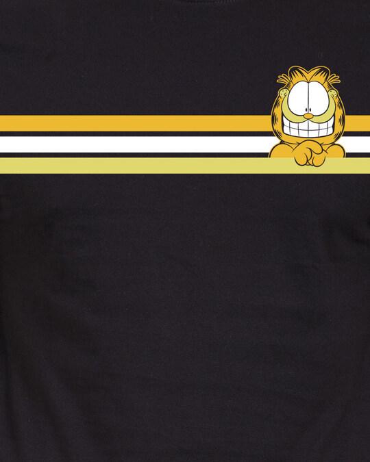 Shop Garfield: Retro Stripes Official Garfield Cotton Half Sleeves T Shirt-Full