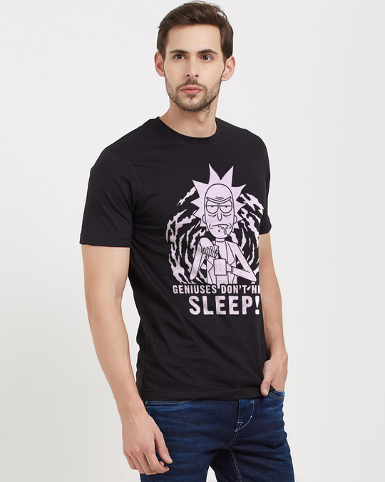 Shop Geniuses Don't Need Sleep Official Rick And Morty Cotton Half Sleeves T Shirt-Design