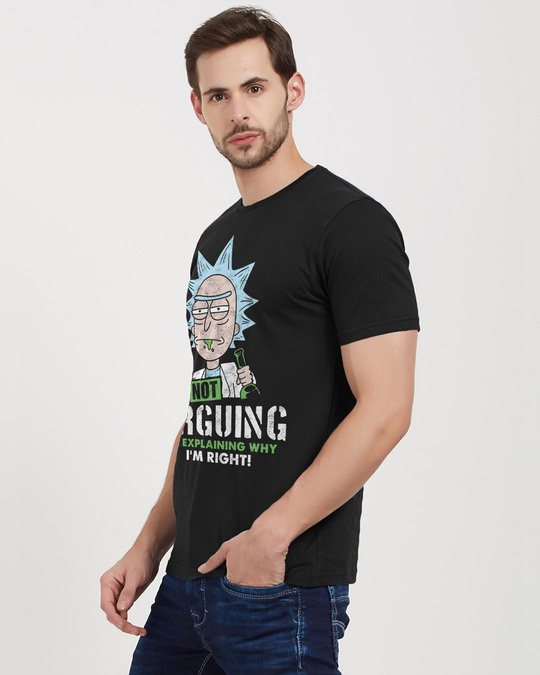 Shop I'm Not Arguing Official Rick And Morty Cotton Half Sleeves T Shirt-Back