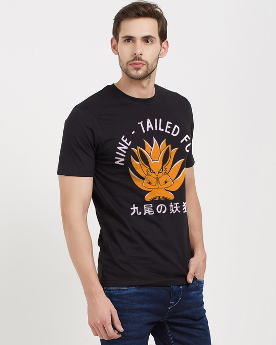 Shop Nine   Tailed Fox Cotton Half Sleeves T Shirt-Design