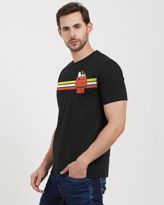 Shop Snoopy: Retro Stripes Officially Peanuts Cotton Half Sleeve T Shirt-Back