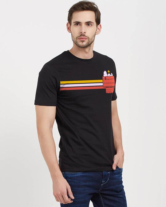 Shop Snoopy: Retro Stripes Officially Peanuts Cotton Half Sleeve T Shirt-Design