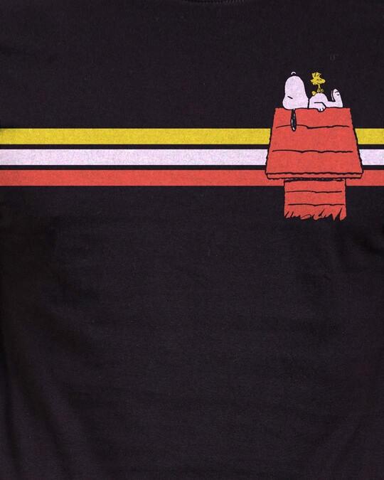 Shop Snoopy: Retro Stripes Officially Peanuts Cotton Half Sleeve T Shirt