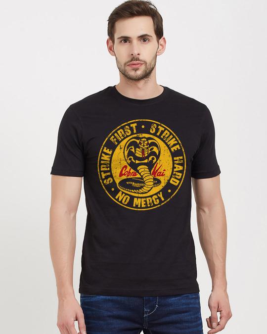 Shop Strike First. Strike Hard. No Mercy. Cotton Half Sleeves T Shirt-Front