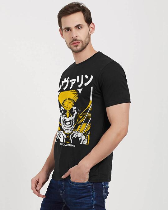 Shop Wolverine: Kanji Official Marvel Cotton Half Sleeves T Shirt-Back