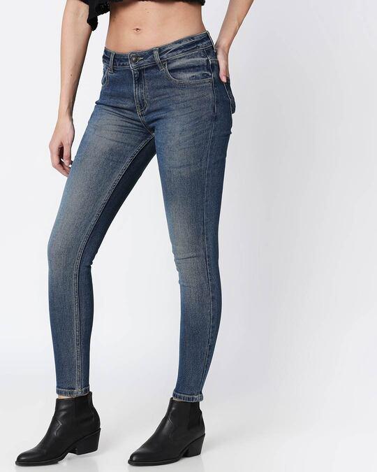 Shop Regal Blue Mid Rise Stretchable Women's Jeans-Back
