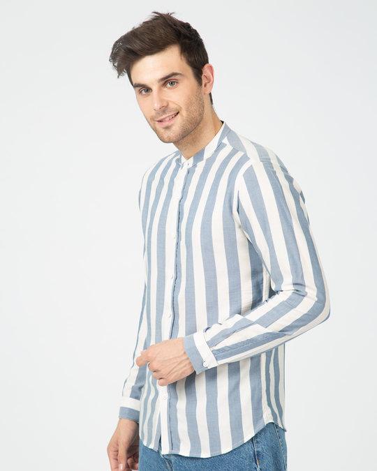 Shop Regency Stripe Mandarin Collar Shirt-Back