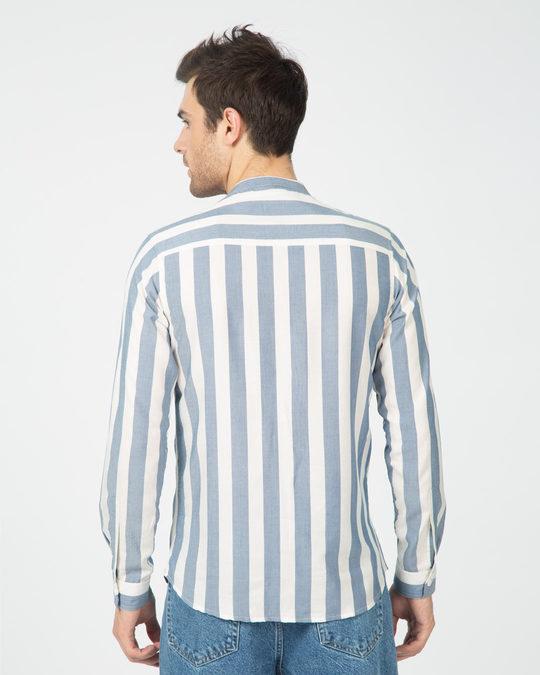 Shop Regency Stripe Mandarin Collar Shirt-Design