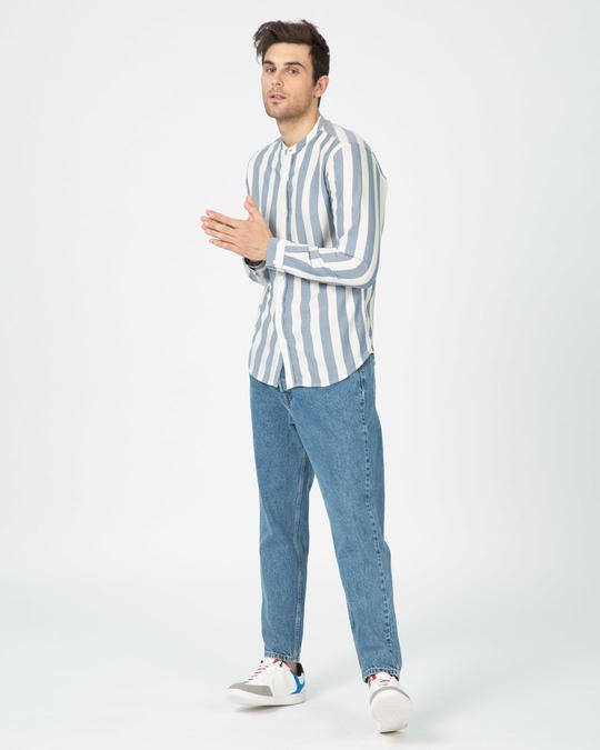 Shop Regency Stripe Mandarin Collar Shirt-Full