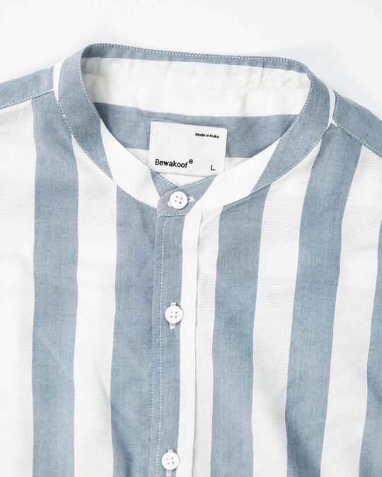 Shop Regency Stripe Mandarin Collar Shirt