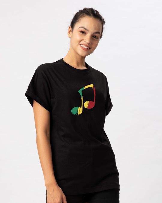 Shop Reggae Pastel Note Boyfriend T-Shirt-Back