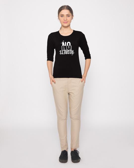 Shop Regrets-none Round Neck 3/4th Sleeve T-Shirt-Design
