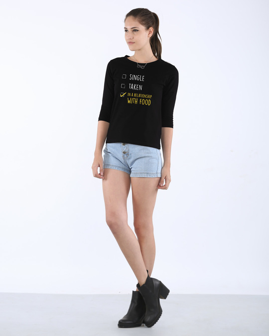 Shop Relationship With Food Round Neck 3/4th Sleeve T-Shirt