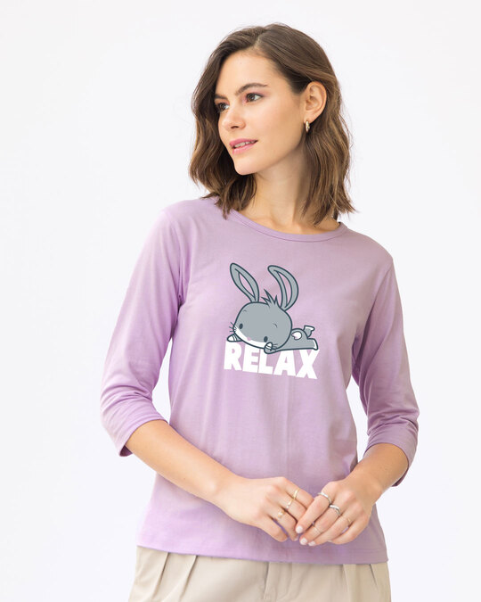 Shop Relax Chibi Bunny Round Neck 3/4th Sleeve T-Shirt (LTL)-Front