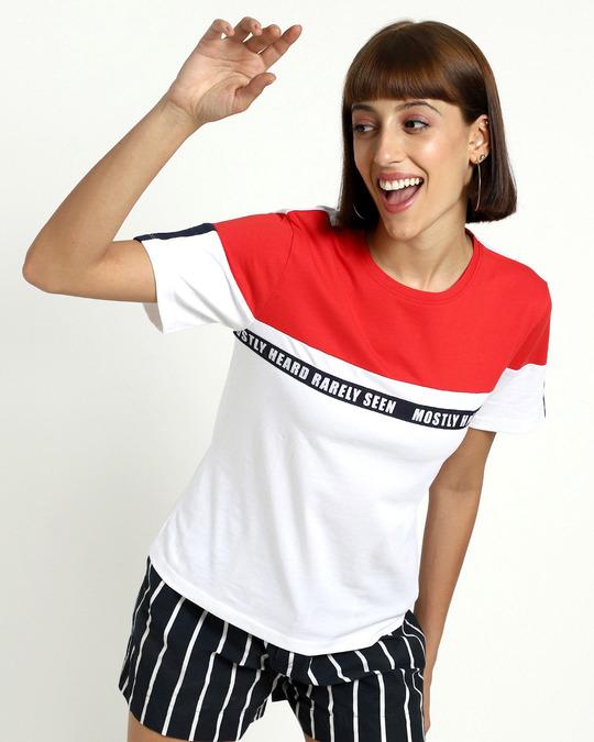 Shop Retro Red Color Block Half Sleeve T-Shirt-Back
