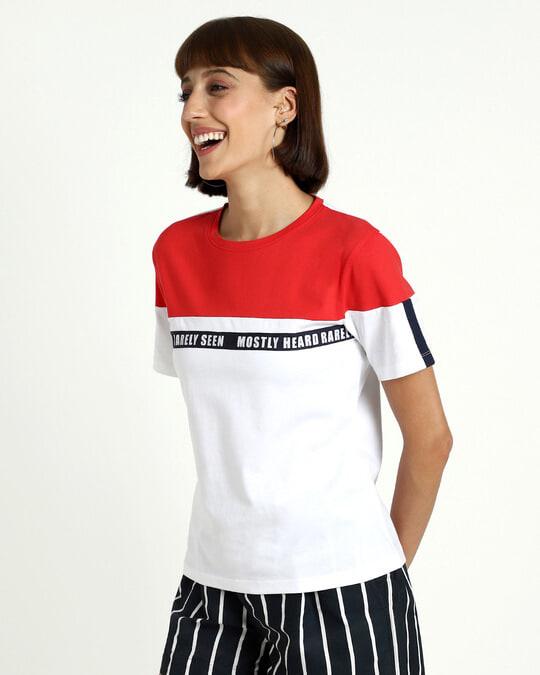 Shop Retro Red Color Block Half Sleeve T-Shirt-Design