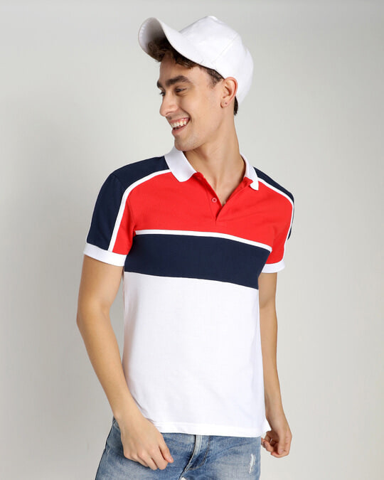 Shop Retro Red Color Block Polo T-Shirt-Front