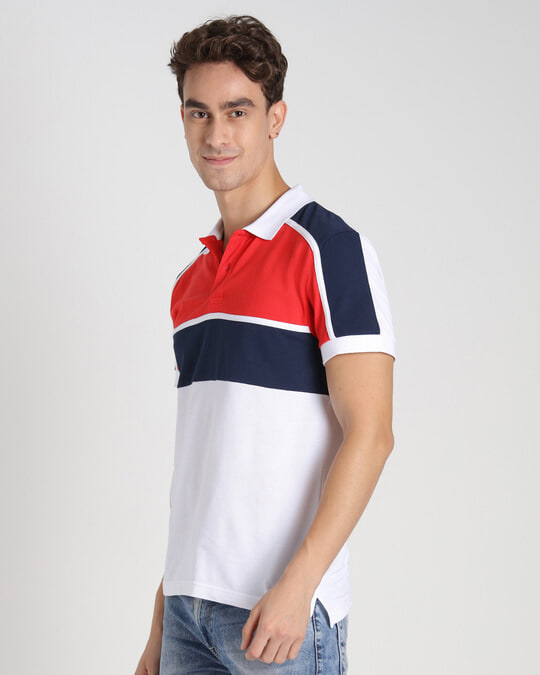 Shop Retro Red Color Block Polo T-Shirt-Full