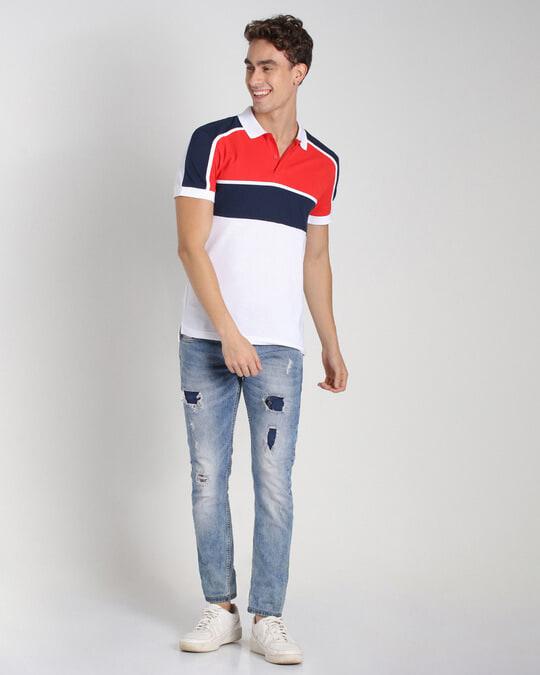 Shop Retro Red Color Block Polo T-Shirt