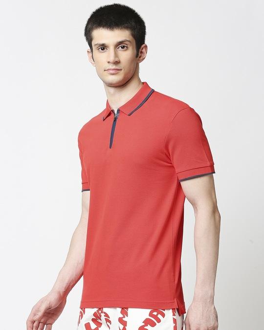 Shop Retro Red Polo T-Shirt-Back
