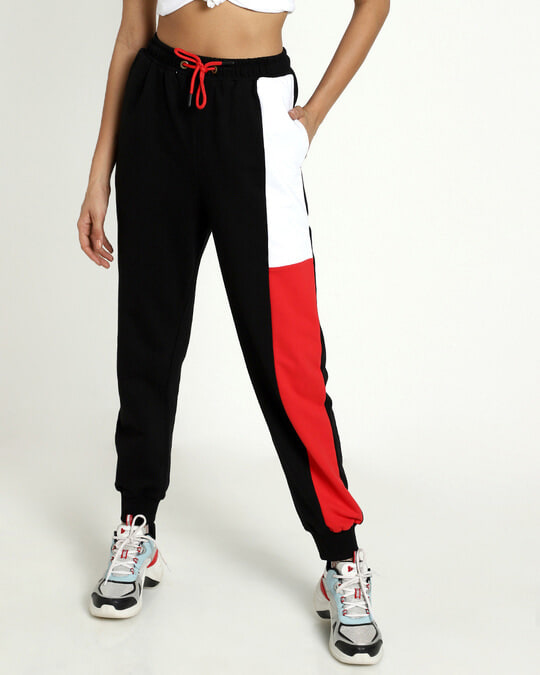 Shop Retro Red Side Panel Joggers-Back