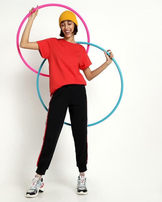 Shop Retro Red Side Tape Joggers-Front