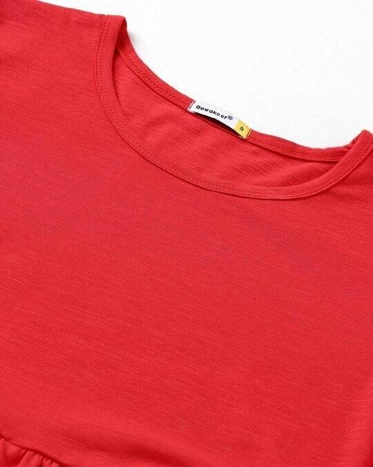 Shop Retro Red Slub Flared Dress
