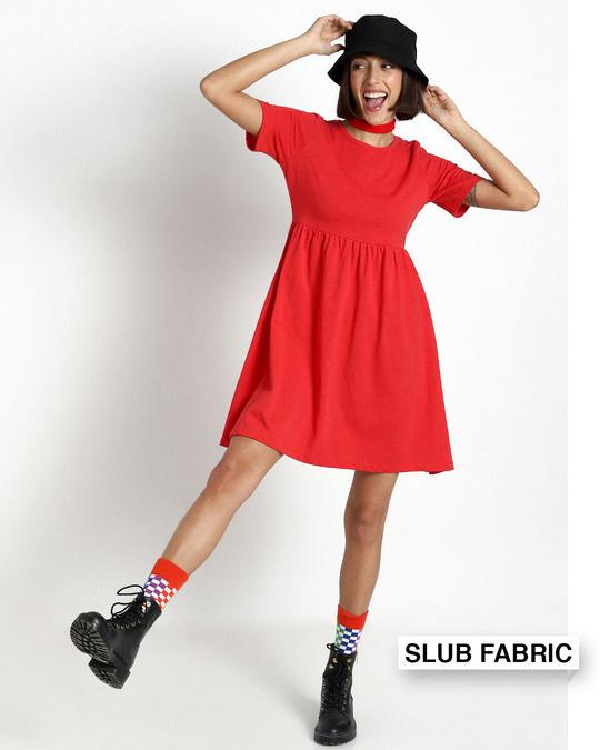 Shop Retro Red Slub Flared Dress-Front
