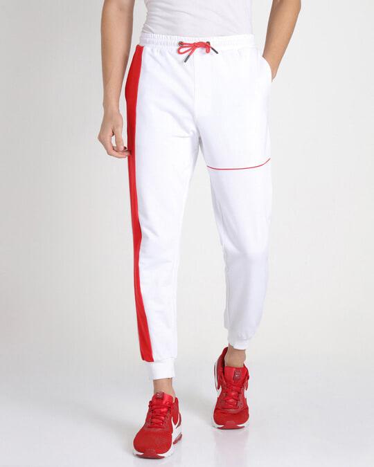 Shop Retro Red Sports Trim Joggers-Back