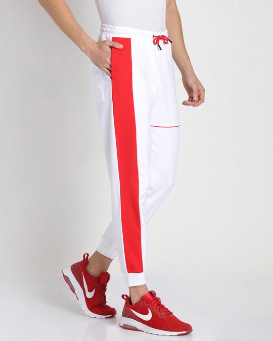 Shop Retro Red Sports Trim Joggers-Design