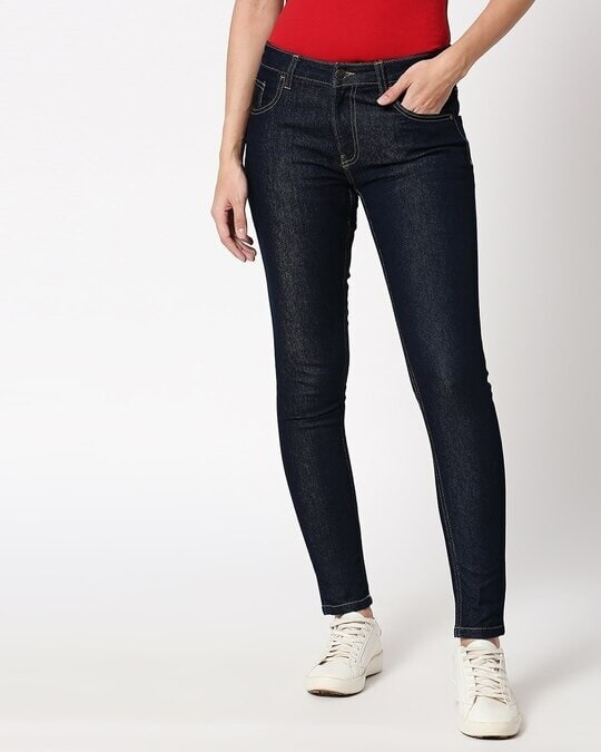 Shop Ribbon Blue Mid Rise Stretchable Women's Jeans-Back