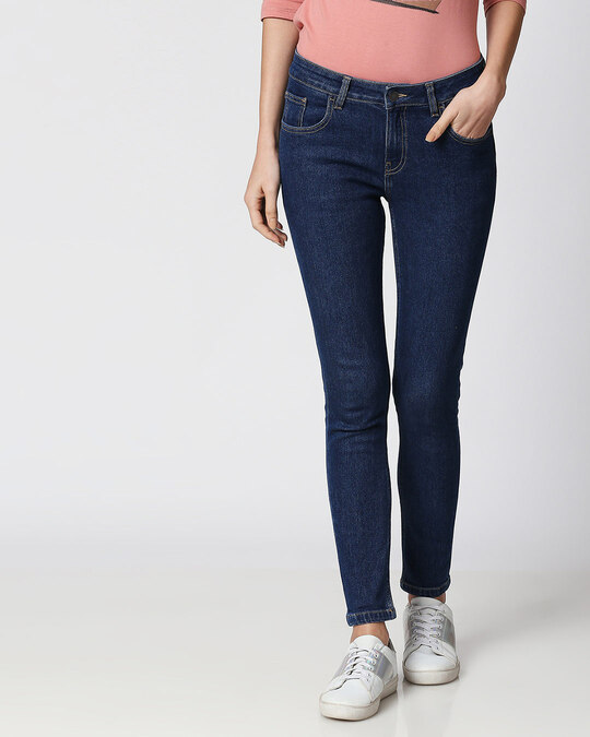 Shop Pool Blue Mid Rise Stretchable Women's Jeans-Front