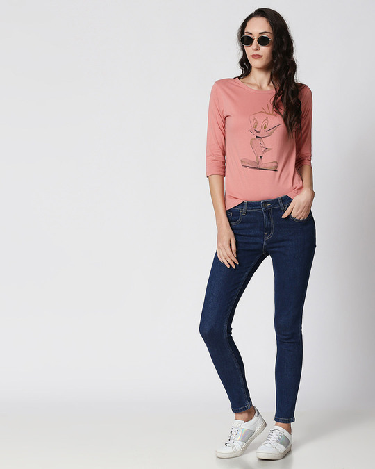 Shop Pool Blue Mid Rise Stretchable Women's Jeans-Full