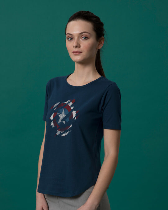 Shop Ripped Captain America Basic Round Hem T-Shirt (AVL)-Back