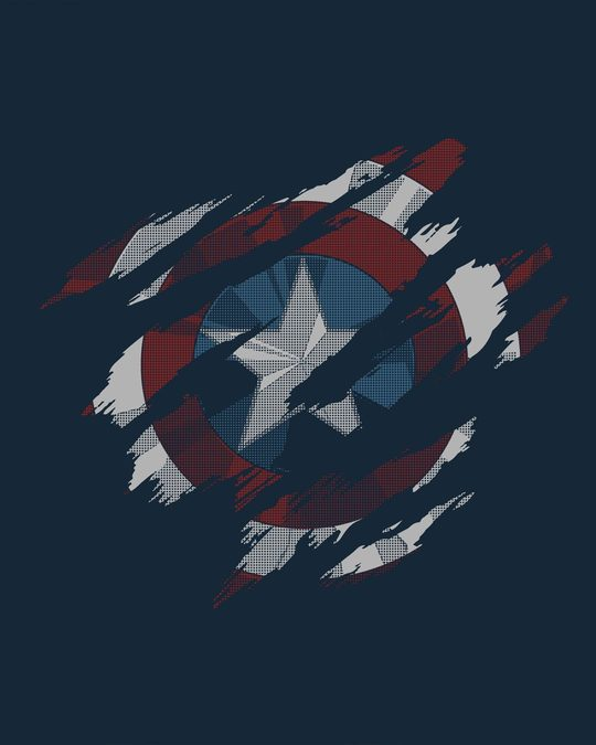 Shop Ripped Captain America Basic Round Hem T-Shirt (AVL)