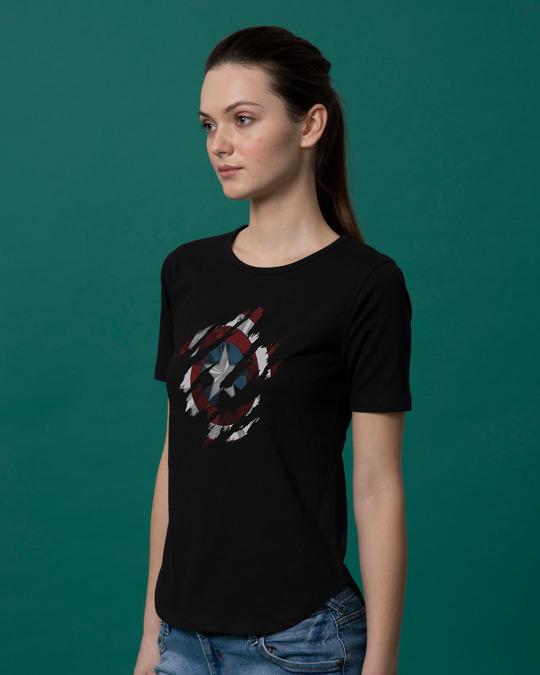Shop Ripped Captain America Basic Round Hem T-Shirt (AVL)-Back