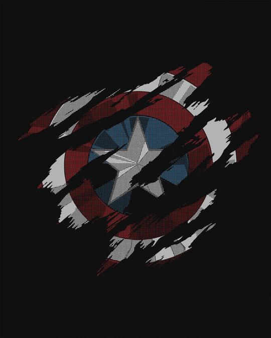 Shop Ripped Captain America Basic Round Hem T-Shirt (AVL)