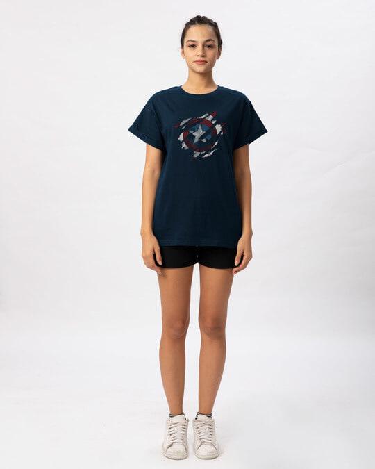 Shop Ripped Captain America Boyfriend T-Shirt (AVL)