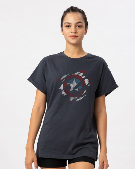 Shop Ripped Captain America Boyfriend T-Shirt (AVL)-Front
