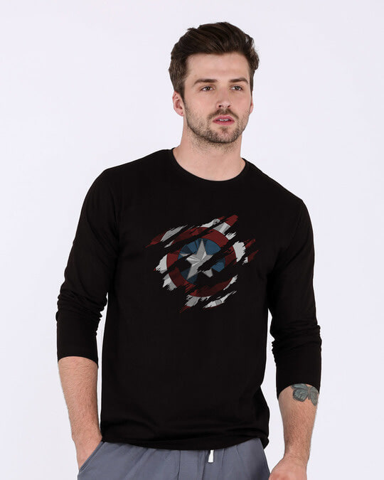 Shop Ripped Captain America Full Sleeve T-Shirt (AVL)-Front