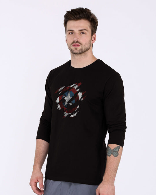 Shop Ripped Captain America Full Sleeve T-Shirt (AVL)-Back