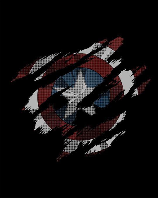 Shop Ripped Captain America Full Sleeve T-Shirt (AVL)