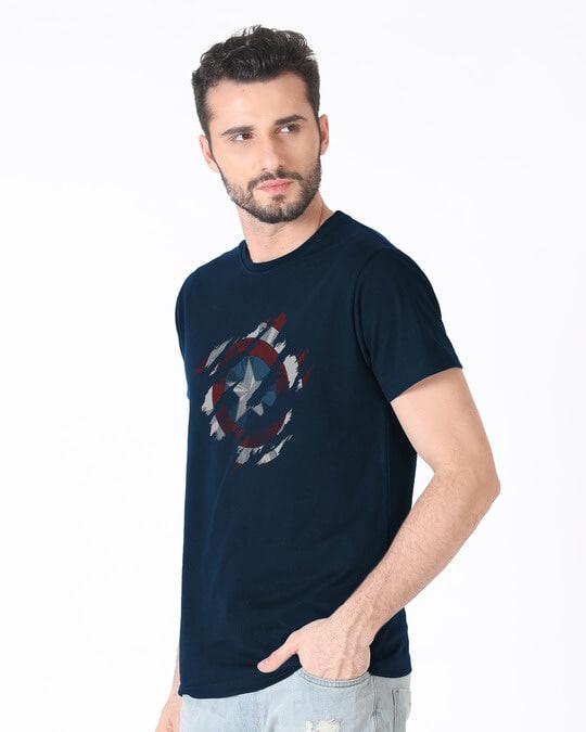 Shop Ripped Captain America Half Sleeve T-Shirt (AVL)-Full